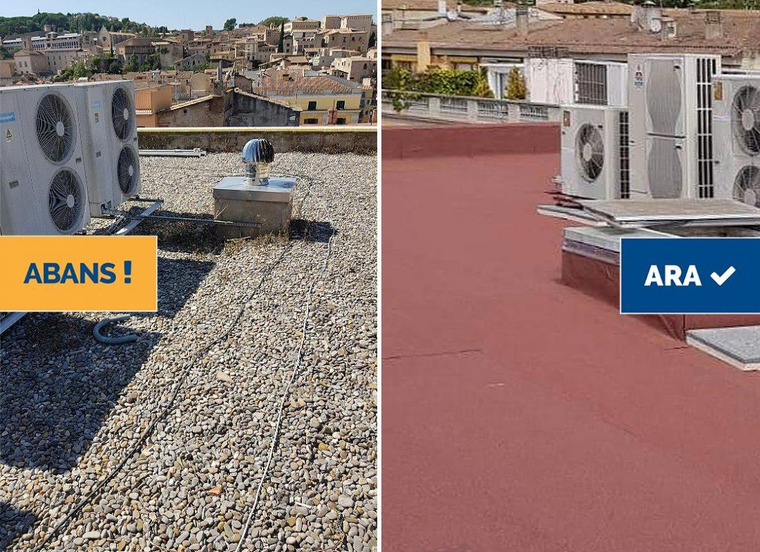 Rehabilitació i impermeabilització de coberta en edifici plurifamiliar, Girona